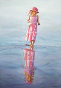 Reflections in the water - young girl walking at the beach - ocean figurative painting with pink and blue in watercolor