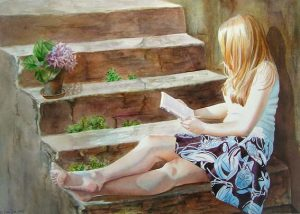 girl sitting on stairs and is reading in a book, woman figurative watercolor painting