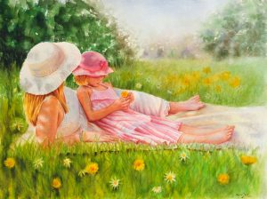 Mom and daughter enjoying time in summer laying in grass counting the flowers with white dress and white hat, young girl with pink dress and pink hat, figurative stunning watercolor painting in realistic romantic style