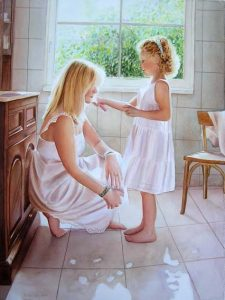 Mom and daughter spending precious time together in bathroom and making the hair, white dress, blonde hair, woman and child figurative watercolor painting