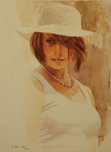 Romantic Portrait painting in watercolor of a beautiful brown hair girl with white shirt and white hat