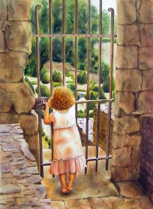 little girl standing in front of the door of a secret garden, door is closed, figurative watercolor painting