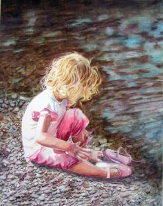Little girl with blonde hair sitting at the river and got wet feed, pink shoes, watercolor figurative painting