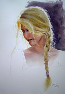 Beautiful blonde hair girl is lost in thoughts, watercolor portrait painting