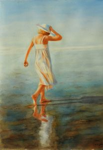 Young girl with white dress and white hat walking at the ocean, glowing sunshine, watercolor painting figurative