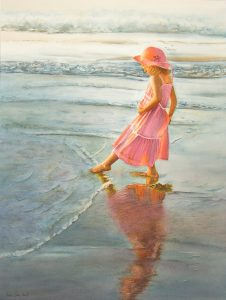 Young girl with pink dress and pink hat touching the ocean, stunning realistic figurative painting in watercolor and romantic realism