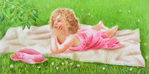 Little girl on a blanket laying in the sun in the grass and is dreaming in the afternoon - Figurative Painting in Watercolor by Doris Joa