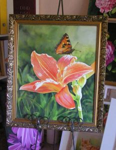 Lilly with Butterfly in watercolor - Flower Painting painted on watercolor canvas and then framed without glass