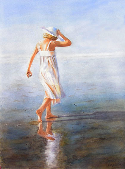 Walk by the Seaside - young girl in white dress with white hat walking at the beach - watercolor painting by Doris Joa