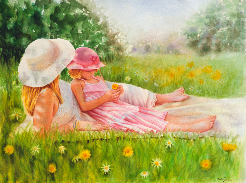 """Summer"" - figurative watercolor painting by Doris Joa"