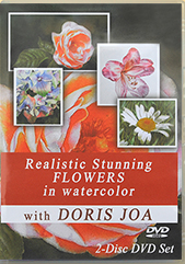 Paint realistic stunning flowers in watercolor with this Watercolor DVD by Doris Joa