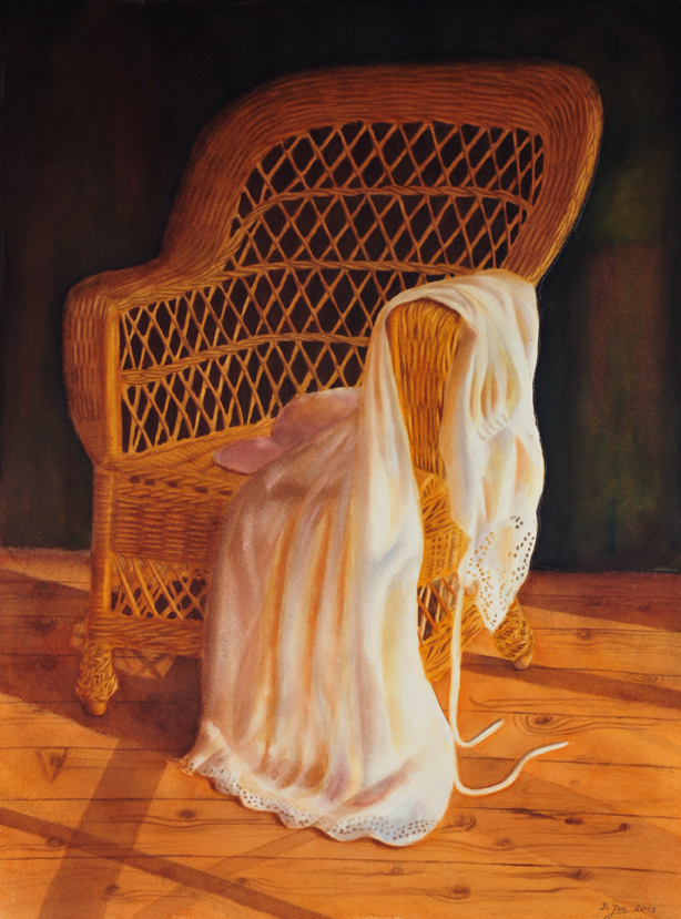 Wicker chair with white dress - painting in watercolor