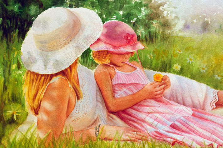 Summer - figurative painting of woman with white hat and white dress, child with pink hat and pink dress laying in grass