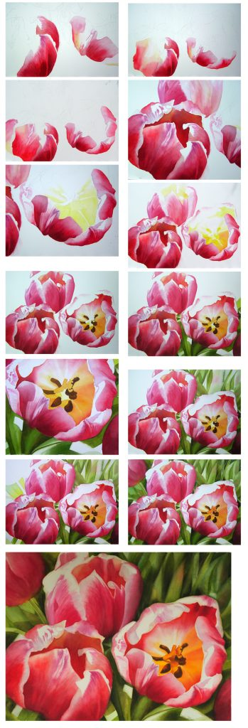 How to paint flowers - Tulips in watercolor by Doris Joa