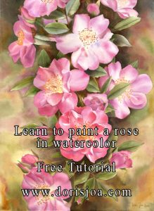Tutorial 'How to paint a pink rose in watercolor' by Doris Joa