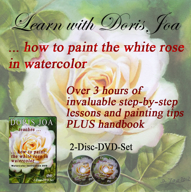 Watercolor Painting Instruction DVD and Watercolor Online Video - Rose Painting Lesson - Learn to paint with Doris Joa - easy and uncomplicated