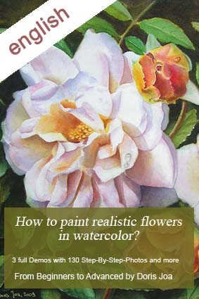 Watercolor Instruction Book on how to paint flowers by Doris Joa