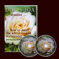 How to paint a white rose with leaves and background, Watercolor DVD & Video