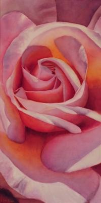 Pink Rose Flower Painting in Watercolor by Doris Joa