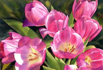 Flower Painting of Pink Tulips in Watercolor by Doris Joa