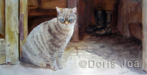 Grey Cat Painting with blue eyes, Watercolor Painting by Doris Joa