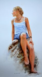 Young blonde girl sitting on rocks - figurative painting in watercolor
