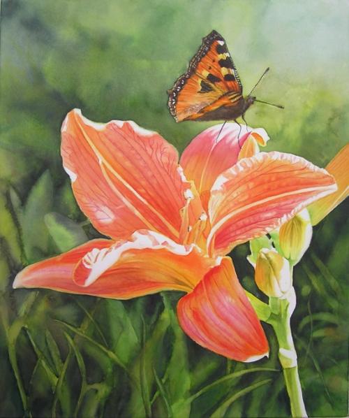 Orange Daylily Flower Painting with Butterfly - Doris Joa Fine Art