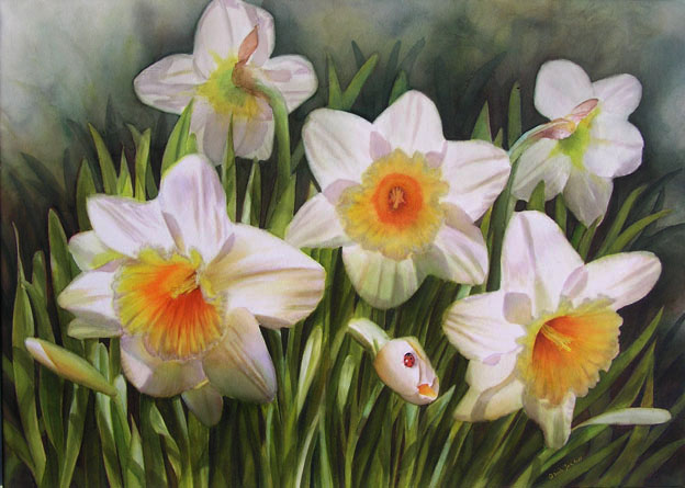 Daffodils with ladybug in watercolor - create colour harmony in your paintings