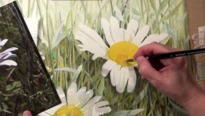 Paint the center of a white Daisy