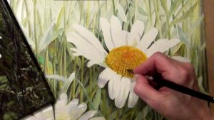 how to paint the center of a realistic white daisy in watercolor - online lesson