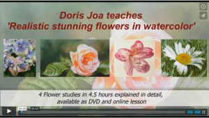 Watercolor-Online Lesson about how to paint realistic stunning flowers in watercolor