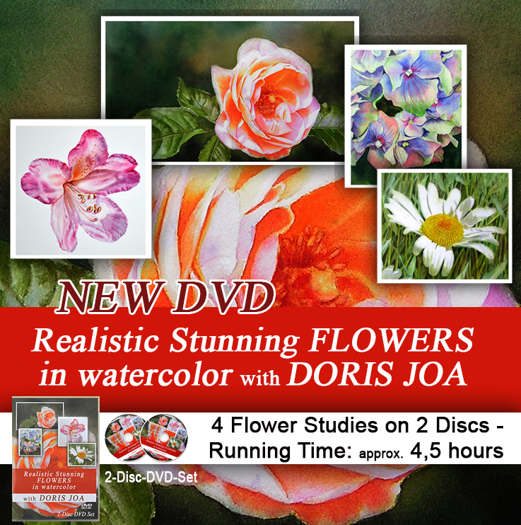 How to paint flowers with this new watercolor teaching dvd by Doris Joa