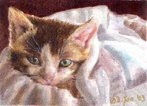 Little Kitten laying in basket - Watercolor Painting of a Kitten