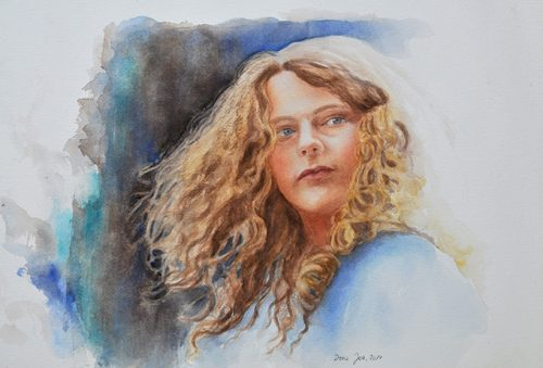 Stunning realistic watercolor portrait painting of a young girl with blond curly hairs