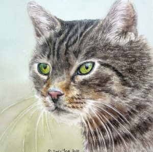 Grey Cat with green eyes - Portrait of a cat in Watercolor, Painting by Doris Joa
