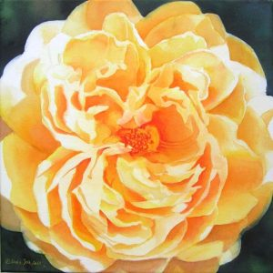 Single yellow Rose Painting in Watercolor