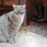 Grey Cat with blue eyes sitting at the front of a door in France - Cat Painting in Watercolor