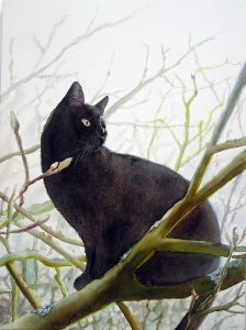 Black cat sitting in Magnoliatree - Watercolor Painting of a Cat