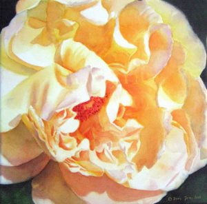painted yellow rose in watercolor