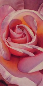 Painting of a Pink Rose on Watercolor Canvas for Sale