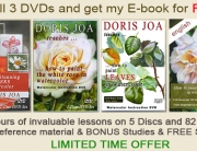 Invaluable lessons on how to watercolor available as DVDs plus Free E-book