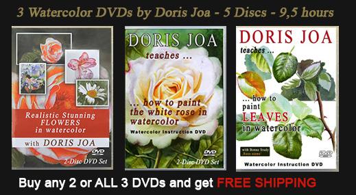 3 Watercolor DVDs by Doris Joa