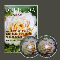 How to watercolor a full rose painting with leaves and background, video/dvd lesson