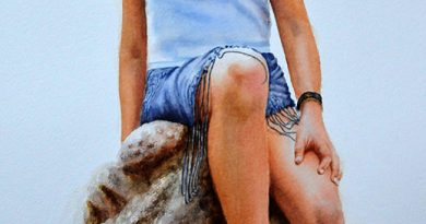 New Figurative Painting in watercolor – Girl on rocks