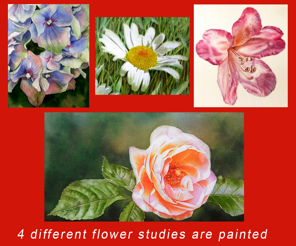 Painting instructions for flowers for Learn to paint online