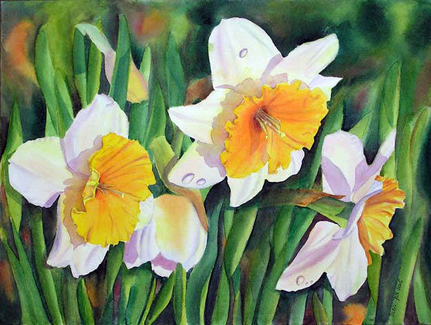 Paint Daffodils. use a purple shadow mix on the white petals.