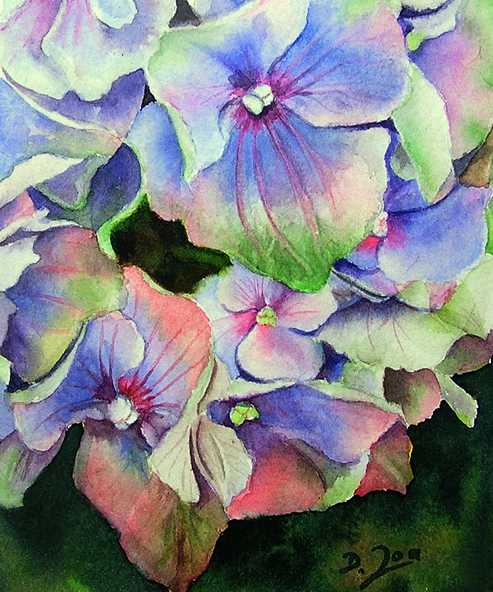 Video Online Lesson - learn to paint a blue hydrangea