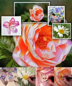 Online Lesson - How to paint realistic flowers in watercolor - view it online on video