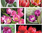 Paintings of Tulips in oil and watercolor . red tulips, single purple tulip with dewdrops, pink tulips as a sign of spring,