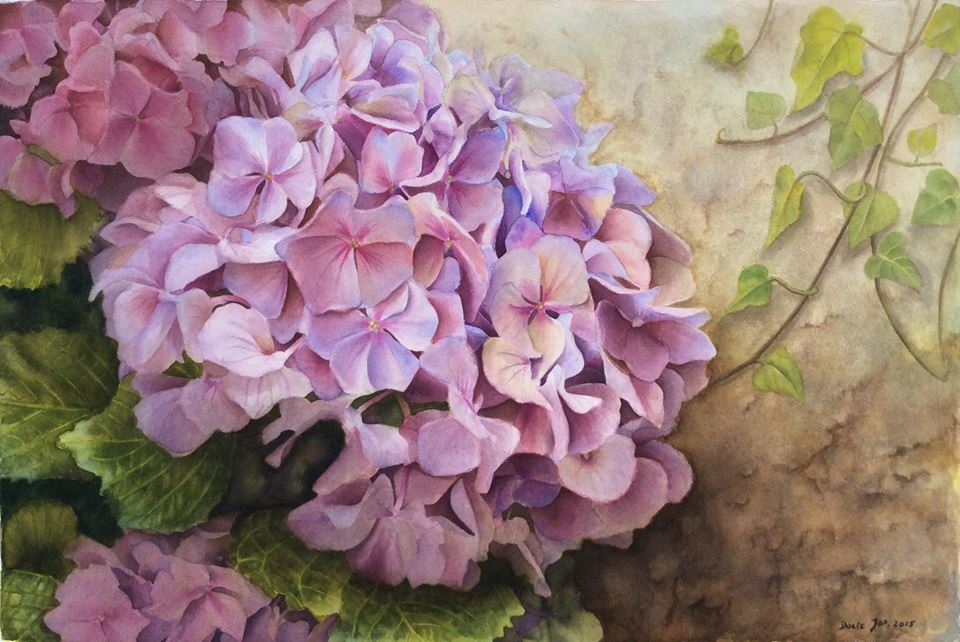 Realistic Hydrangea Painting in watercolor with ivy along a stone wall